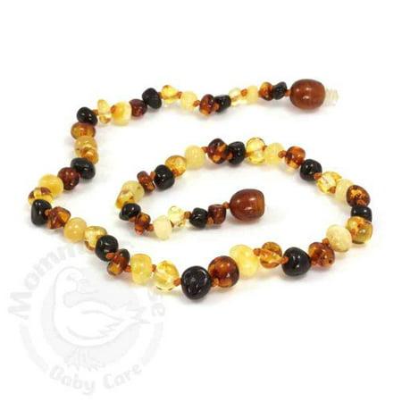 Momma Goose Amber Teething Necklace - Baby Baroque Multi Baltic Amber Teethin...