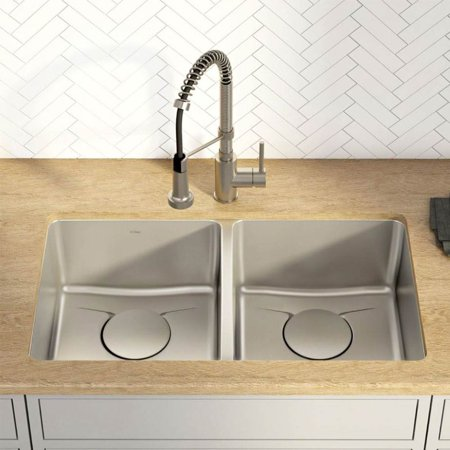 Kraus KD1UD33B 33 in. Undermount Double Bowl Kitchen Sink with DrainAssure WaterWay & VersiDrain Assembly, Radiant Pearl - image 2 of 5
