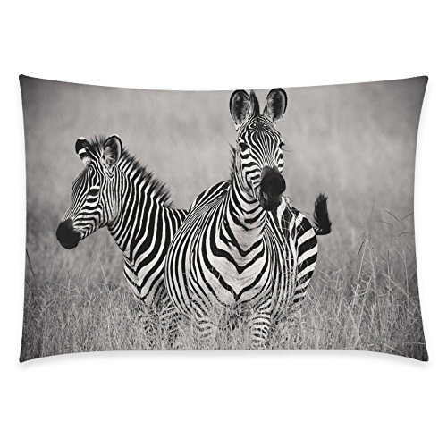 ZKGK Animal Two Zebras Home Decor, Black and White Zebra Pillowcase 20 x 30 Inches Two... by ZKGK
