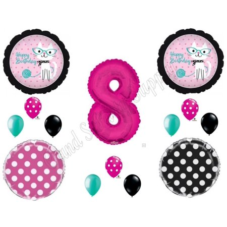 8th KITTY CAT DIVA Purrfect Birthday Party Balloons Decoration Supplies Eighth (18th Birthday Supplies)