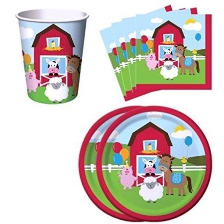 Farm Animal Birthday Supplies (Farm House Fun Barnyard Animals Birthday Party Supplies Set Plates Napkins Cups Kit for 16 by Creative)
