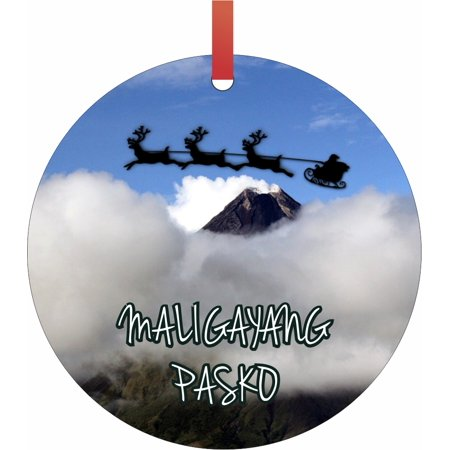 Santa and Sleigh Riding Over The Mayon Volcano - Philippines - Maligayang Pasko TM - Double-Sided Round-Shaped Flat Aluminum Christmas Holiday Hanging Ornament with a Red Satin Ribbon. Made in the USA ()