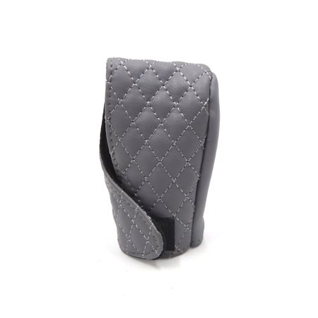 Universal Gray Faux Leather Shift Knob Cover Protective Sleeve for Auto