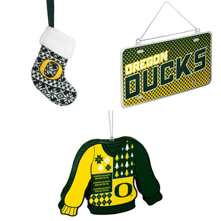 NCAA Oregon Ducks ORNAMENT STOCKING KNIT Metal License Plate Christmas Ornament Foam Ugly Sweater Bundle 3 Pack By Forever Collectibles