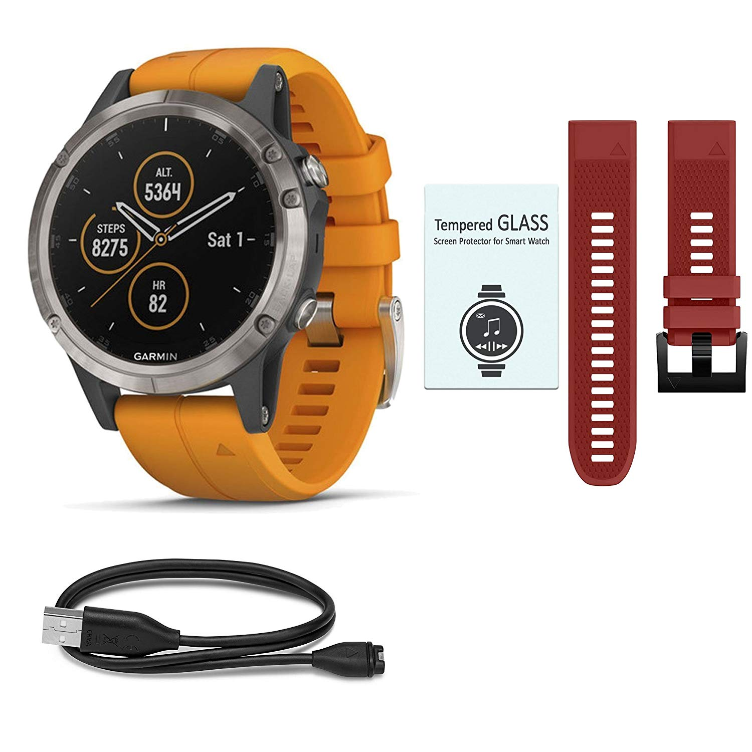 Garmin Fenix 5 Plus Sapphire Black w/ Black Band & Dark Blue Band Bundle