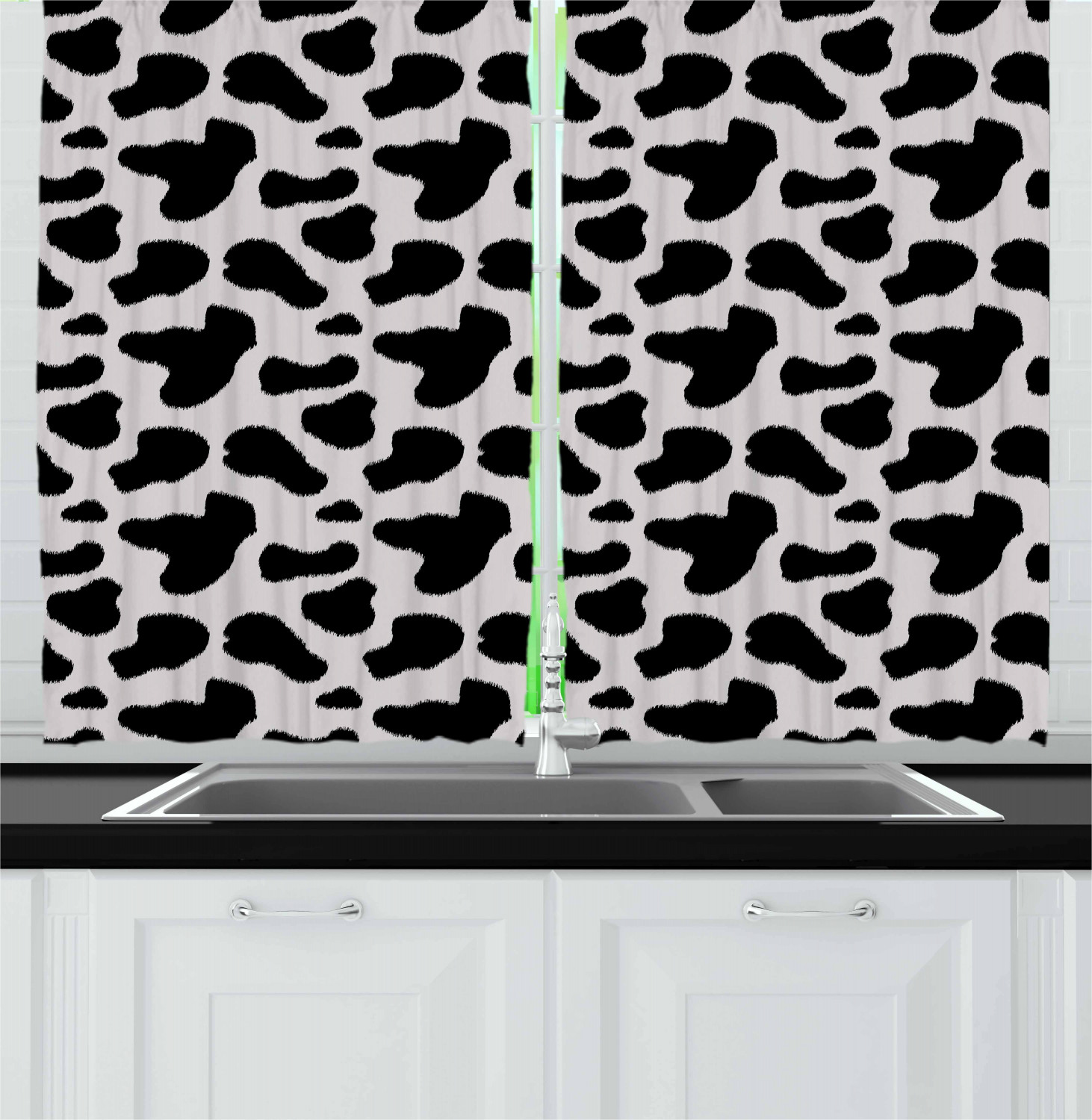 Cow Print Curtains 2 Panels Set Cow Hide Pattern With Black Spots Farm Life With Cattle Camouflage Animal Skin Window Drapes For Living Room Bedroom 55w X 39l Inches White Black By