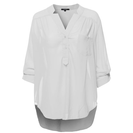 FashionOutfit Women's Plus Size Henley Neck w/ Pocket 3/4 Sleeve Sheer Blouse Top