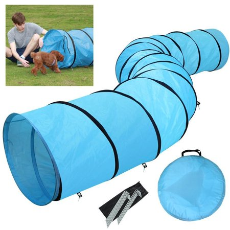 18ft Pet Dog Agility Obedience Training Tunnel Blue Yaheetech