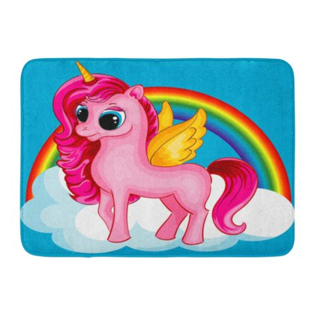 Pony Turnout Rugs (GODPOK Blue Baby Pony Unicorn with Golden Wings and Big Eyes on The Cloud with Rainbow Multicolor Colorful Rug Doormat Bath Mat 23.6x15.7 inch)