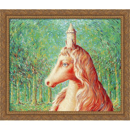 The fine idea 34x28 Large Gold Ornate Wood Framed Canvas Art by Rene Magritte