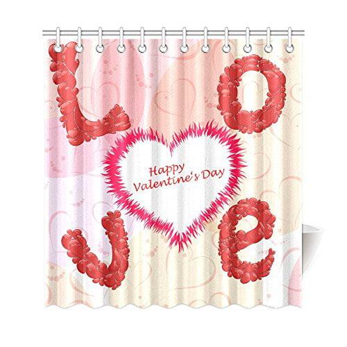 GCKG Valentines Day Shower Curtain Love Heart Shape Polyester