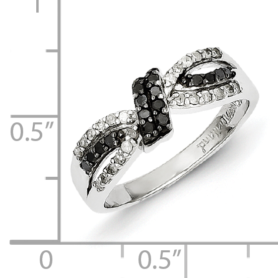 925 Sterling Silver Black White Diamond Band Ring Size 6.00 Fine Jewelry Gifts For Women For Her - image 2 de 6