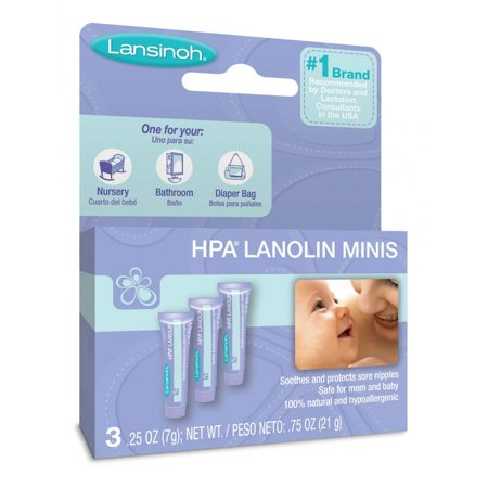 Lansinoh Lanolin Nipple Cream for Breastfeeding, .25 Oz each, 3 Mini Tubes
