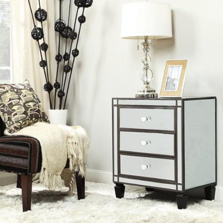 Inspire Q Escanaba Mirrored 3 Drawer Black Trim Accent Table By  Bold