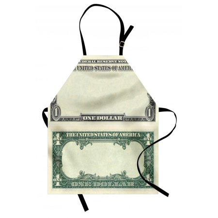 1934 Federal Reserve Note - Money Apron One Dollar Bill Buck Design American Federal Reserve Note Pattern Wealth Symbol, Unisex Kitchen Bib Apron with Adjustable Neck for Cooking Baking Gardening, Pale Green Grey, by Ambesonne