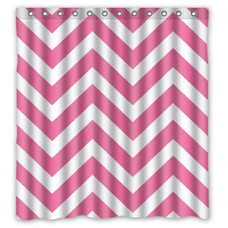EREHome Pink and White Chevron Shower Curtain Polyester Fabric Bathroom Decorative Curtain Size 66x72 Inches - image 1 of 1