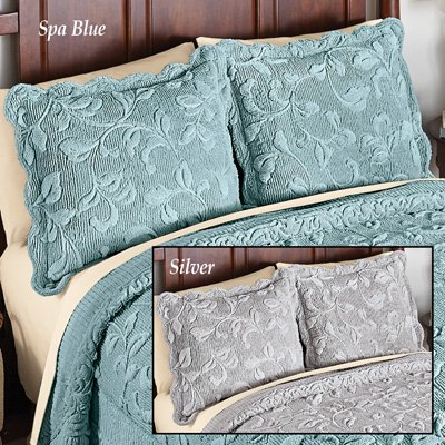 Elegant Faux Fur Leaves Pillow Sham - Plush Raised Floral Design, Spa Blue, Sham