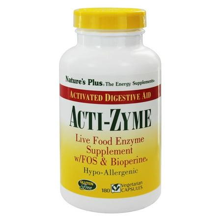 Nature's Plus - Acti-Zyme avec des enzymes des aliments vivants FOS et Bioperine - 180 Capsules