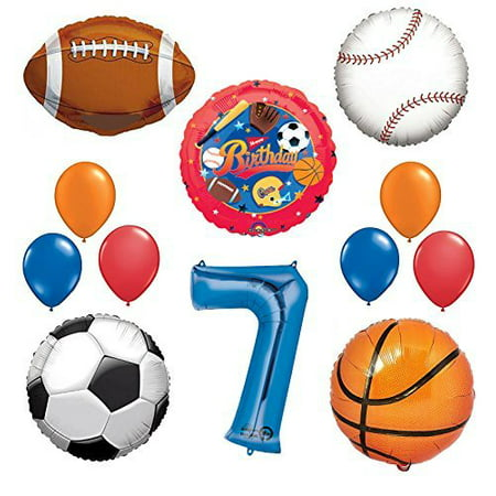 The Ultimate Sports Theme 7th Birthday Party Supplies and Balloon Decorating Kit
