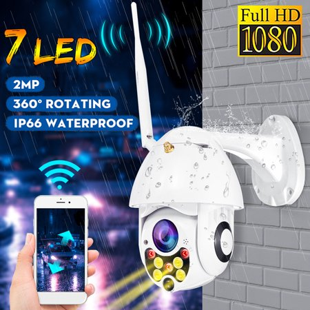 IP66 Waterproof Outdoor WiFi HD 1080P IP Camera Two-way Voice Wireless Security Speed Dome Camera with 7 LED Infrared Night Vision IR