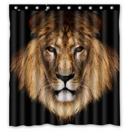 GCKG Creative Lion Waterproof Polyester Shower Curtain and Hooks Size 66x72 inches ()