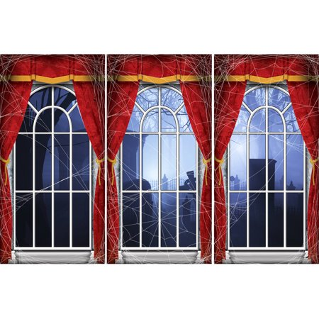 Haunted Hotel Arched Window Standee Set Halloween Decoration