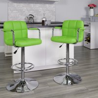 Contemporary Quilted Vinyl Adjustable Height Barstool with Arms and Chrome Base, Set of 2, Multiple Colors