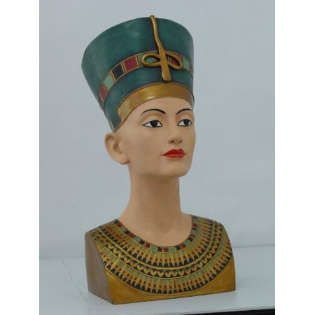 18 Inch Egyptian Queen Nefertiti Head and Bust Resin Statue Figurine