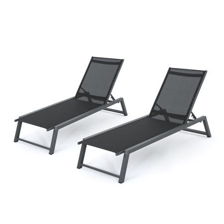 Mesa Outdoor Black Mesh Chaise Lounge With Aluminum Frame Set Of 2 Grey