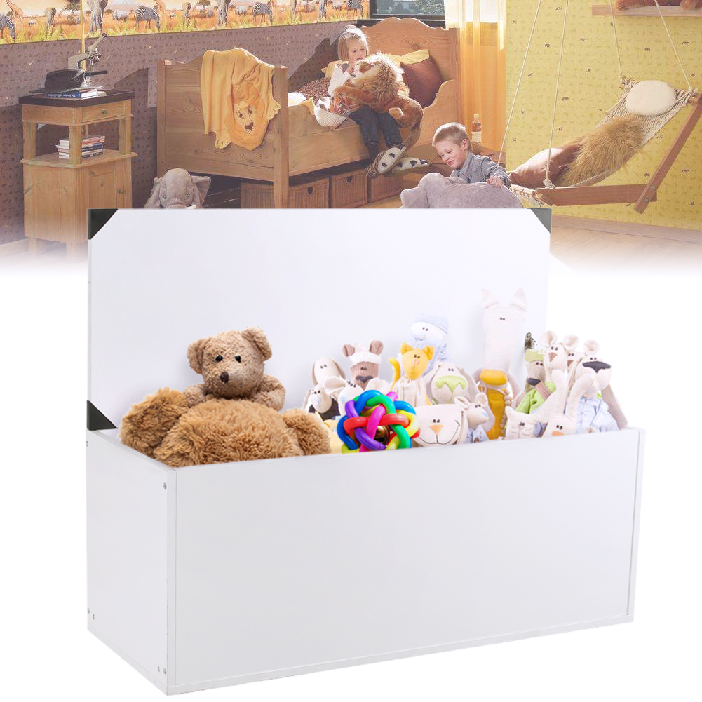 Wooden Ottoman Toy Storage Box Chest Blanket Lid Beech Large Trunk Furniture US