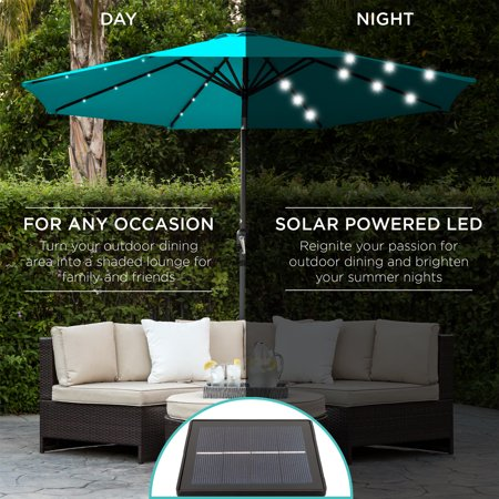Best Choice Products 10ft Solar LED Lighted Patio Umbrella w/ Tilt Adjustment, Fade-Resistant Fabric - Light Blue