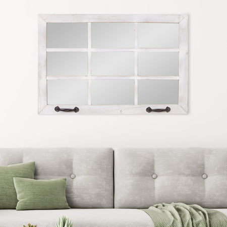 Patton Wall Decor 24x36 Distressed White Windowpane Wall Accent Mirror ()