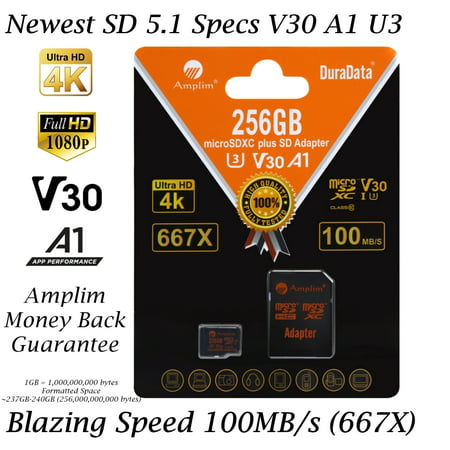 256GB Micro SD Card plus Adapter. Amplim 100MB/s MicroSDXC Card V30 A1 U3 Class 10 MicroSD Memory Card for GoPro, Cell Phones, Samsung Galaxy, LG, Sony Xperia, DJI, Drones, Cameras, Nintendo Samsung Camera Memory