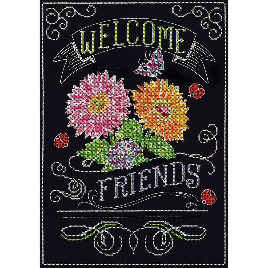 "Welcome Chalkboard Counted Cross Stitch Kit, 10"" x 14"", 14-Count"