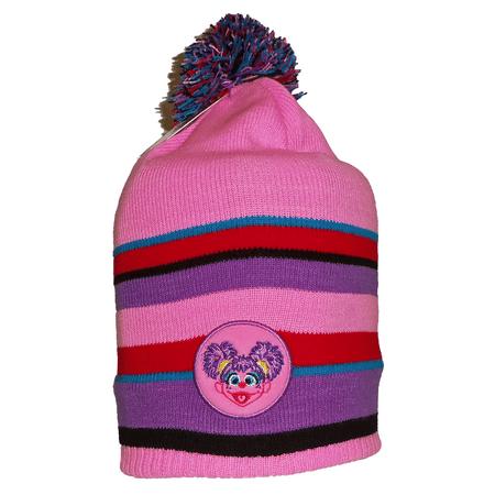 Abby Cadabby Pink & Purple Stripe Sesame Street Headwear Little Girls Micro Fleece Lined Knit Winter Hat Cap Slouchy Toque w/ Pom Pom Coppertone UPF 50+ UV Sun Protection](Abby Cadabby Hat)