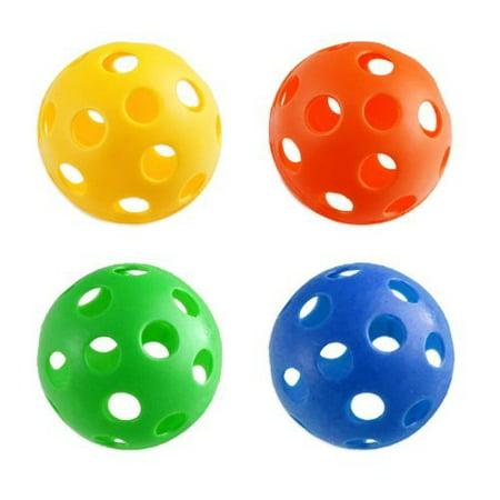 4pc Plastic Wiffle Ball Set - Baseball Size - Great Dog Toy