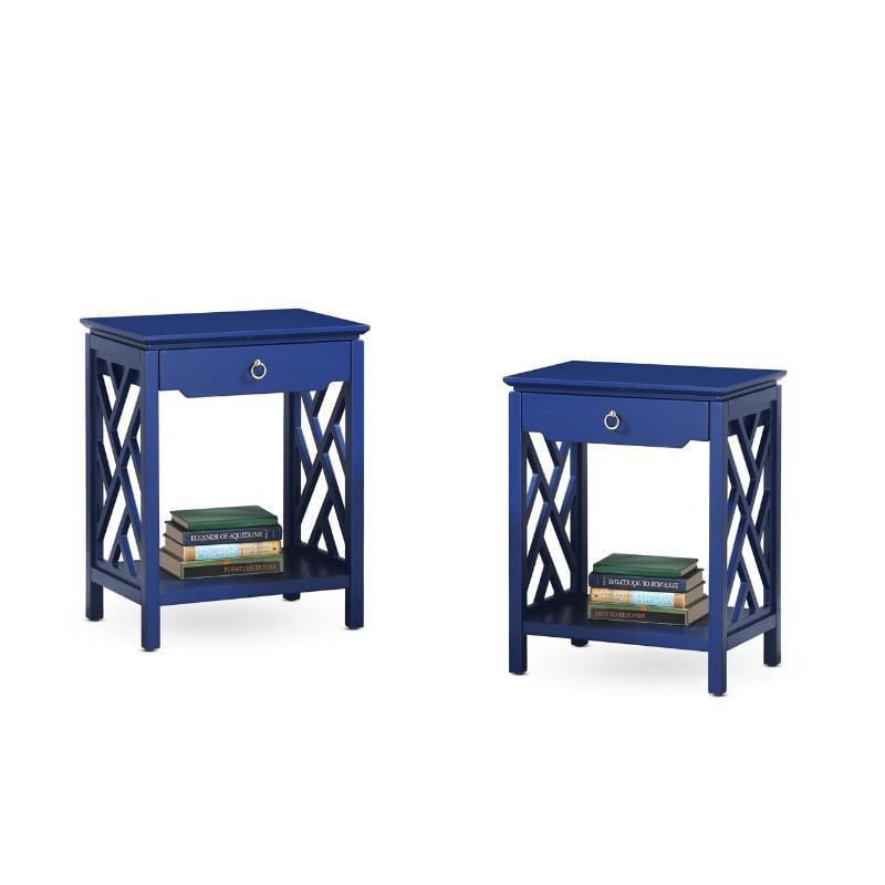 Comfort Pointe (Set of 2) Mid Century Modern Night Stand in Retro Blue