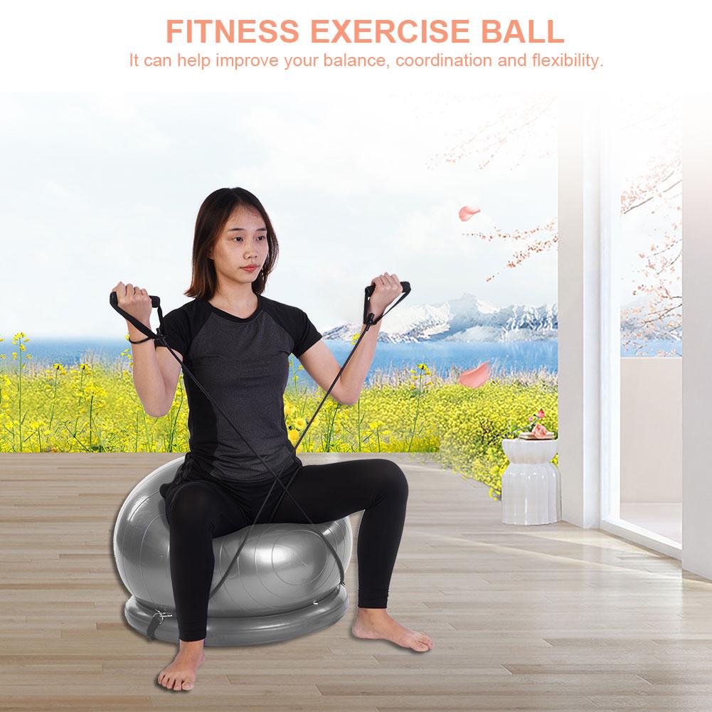 Ejoyous Yoga Fitness Balancing Exercise Ball with Resistance Bands Base, Yoga Exercise Ball, Balancing Exercise Ball