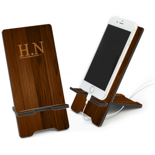 Custom Walnut Wood Color Initial Cell Phone Stand