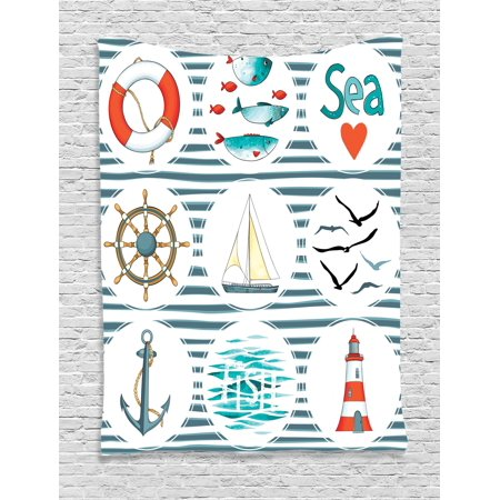 Nautical Tapestry, Sea Set with Fishes Lifebuoy Gulls Lighthouse Marine Inspired Maritime Theme, Wall Hanging for Bedroom Living Room Dorm Decor, White Red Blue, by Ambesonne