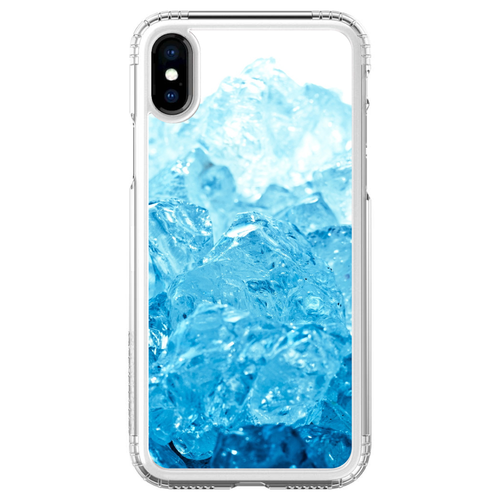 iPhone X SaharaCase ® Clear Shockproof Custom Case By DistinctInk ®- Protective Kit & ZeroDamage Screen Protector - Clear Blue Ice Image Print