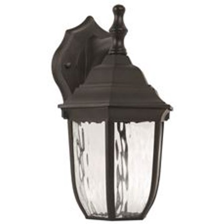 Led Outdoor Lantern, Clear Water Glass, 10-7/8 In., Black, Uses (1) 6-Watt Led Integrated Panel