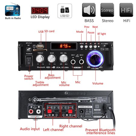 600W 110V 4-16Ohm Home/Car Digital Amplifier Wireless b luetooth Receiver Speaker HIFI Stereo Audio AMP USB/SD/MP3 2 Mic Inputs For Car Home i Pad Phones Tablet Computers