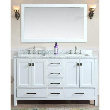 Ari Kitchen and Bath Bella 60 in. Double Bathroom Vanity Set with Mirror