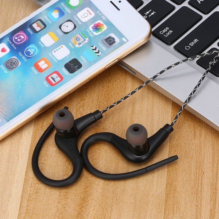 Stereo Sport Earphones with Ear Hook MIC Volume Control Running Headphone