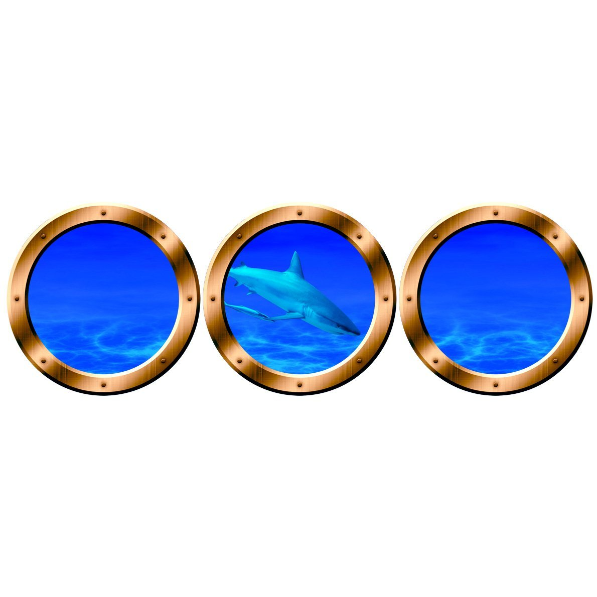 "VWAQ Submarine Porthole - Shark Wall Decals, Underwater Ocean Decor - VWAQ-SPW16 (20"" Diameter, Gold)"