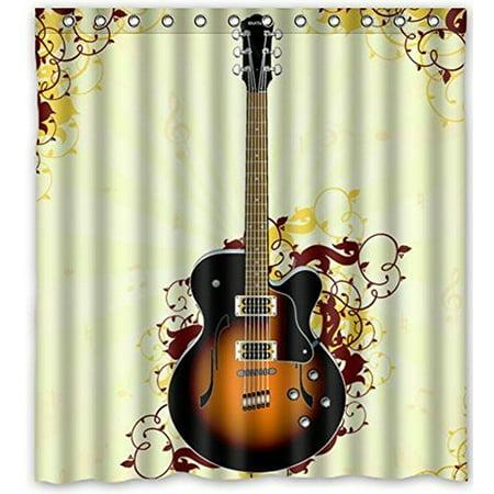 Ganma Bear Ba Cool Guitar Shower Curtain Polyester Fabric Bathroom Shower Curtain 66x72 inches](Cool Ba)
