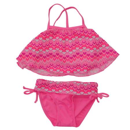 Infant & Toddler Girls Pink Heart 2 Piece Tankini Swimming & Bathing