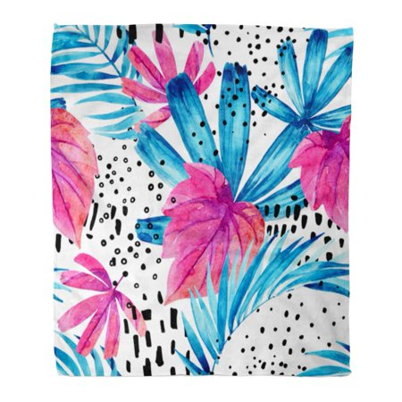 ASHLEIGH Flannel Throw Blanket Watercolor Tropical Leaves Water Color Floral Ink Doodle Hand Soft for Bed Sofa and Couch 50x60