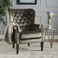 Noble House Velvet Club Chair,Grey